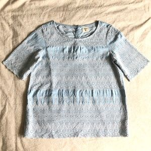 GAP Petite Embroidered Eyelet Short Sleeve Top